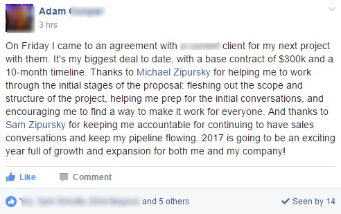 It's my biggest deal to date, with a base contract of $300k and a 10-month timeline. Thanks to Michael Zipursky for helping me to work through the initial stages of the proposal.