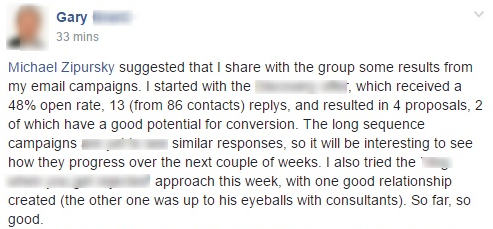 ...which received a 48% open rate, 13 (from 86 contacts) replys, and resulted in 4 proposals, 2 of which have a good potential for conversion.