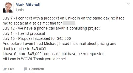 I have 5 more $45,000 proposals that have been requested! All I can is WOW! THank you Michael!