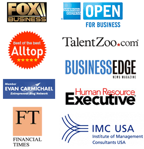 Fox Business, Alltop, Evan Carmichael, Financial Times, American Express, TalentZoo, Business Edge, Human Resource Executive, IMC USA