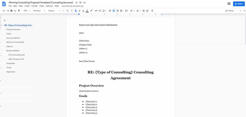 winning consulting proposal template doc