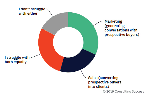 what consultants struggle with marketing vs sales