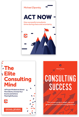 Learn how to become a consultant by reading our international best-selling book, The Elite Consulting Mind, our guide to a successful consulting business, Consulting Success, and the recently published Act Now.