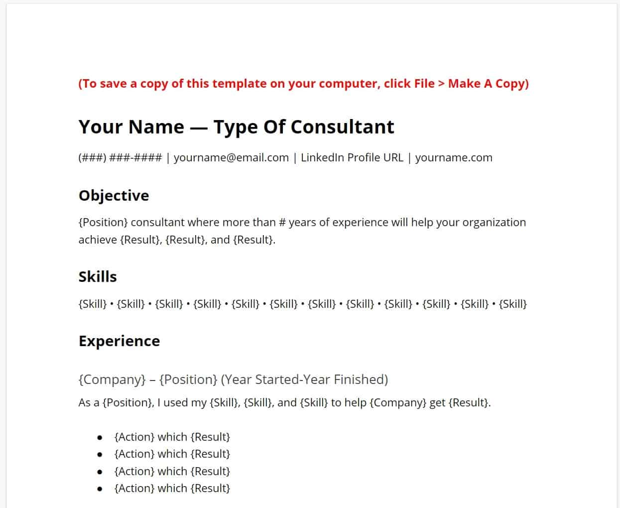independent consultant resume template