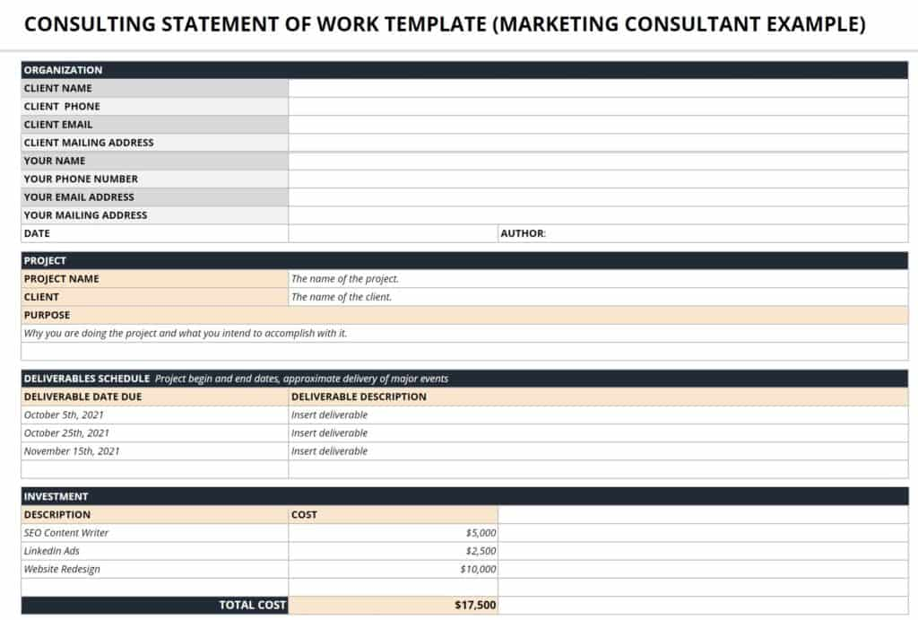 google sheet statement of work template for consultants